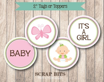 PRINTABLE . Tee Shirt Babies Baby Girl Cupcake Toppers or Tags