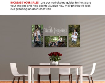 Photography Wall Display Guide - Simply Neutral - DINING ROOM - (3) Photoshop Layered .psd Templates - Dining Room backdrop & image displays