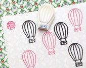 hot air balloon stamp. hand carved rubber stamp. travel holiday stamp. diy birthday wedding card making. voyage scrapbooking. gift wrapping