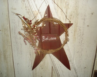 Believe Star, Primitive, Rustic, Star, Home Decor, Christmas, Winter, Ofg, Faap, Hafair, Dub