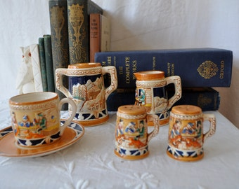 Miniature Vintage Pottery Tea Set/Teacup, Creamer and Sugar, and Salt and Pepper Set/Santa's Helpers