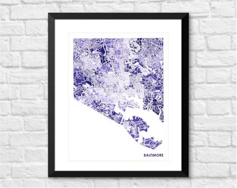 Baltimore Maryland Art Map Print.  Color Options and Size Options Available.  Map of Bmore.