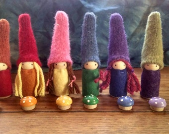 Rainbow Gnomes Set of 6