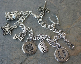Lucky 8 Charm Bracelet - Luck, clover, horseshoe, number eight, wishbone, dragonfly, maneki neko lucky cat, star,  - Free shipping USA