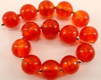 Round red glass beads- 16mm- lampwork- silver foil interior- 18pcs