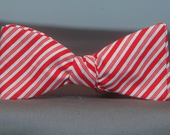 Red and White Candy Striper  Bow Tie