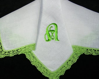 "Vintage Lime Green on White Monogrammed Monogram ""A"" Ladies Crochet Lace Trim Brides Wedding Handkerchief, Hankie, Hanky - 9657"