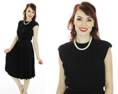 Vintage 60s Dress Black Pleated Full Circle Skirt Formal Cocktail Pin-up Retro 1950s 50s Mad Men 1960s Party Medium M Small S