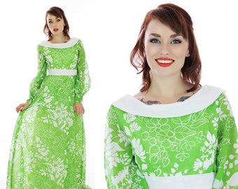 60s Hostess Dress Vintage Mod Gown 1960s Maxi Party 70s Bright Green Floral Event Formal Festival Small S Medium M