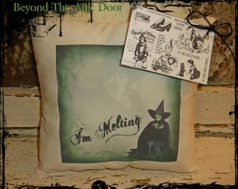 PRIMITIVE Wicked Witch Of The West Pillow Tuck MELTING Wizard Of Oz