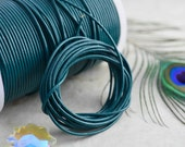 Teal Blue: 2mm Round Leather Cord, Genuine Round Leather,  Indian Leather, Supple Leather, Leather Cording / Choose your length