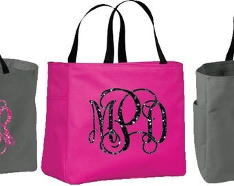Large Monogram /Name Personalized Totes Beach Bags, Poolside Bag, Bridesmaid Gifts, Cheer, Dance, Wedding Gifts Beach Bags, Glitter Tote