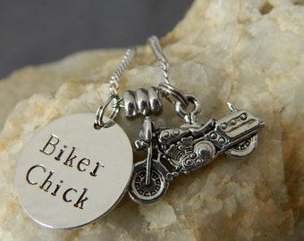 Biker Chick Motorcycle Charm Necklace