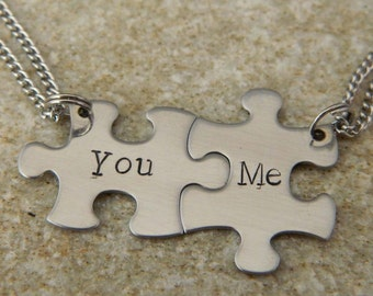 You and Me Stainless Steel Puzzle Piece Necklaces