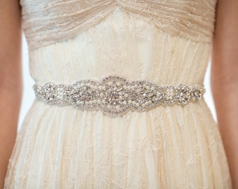 Bridal Gown Sash, Wedding Dress Sash, Rhinestone Beaded Sash, Jeweled Ribbon Sash, Crystal Wedding Gown Sash