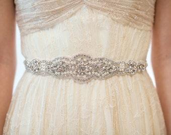 Bridal Gown Sash, Wedding Dress Sash, Rhinestone  Beaded Sash