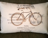 Lumbar Bicycle Pillow Cover, French Bicycle Cushion, Throw Pillow, Vintage Bicycle Print, Printed Pillow, French, One 12 x 16 or 12 x 18