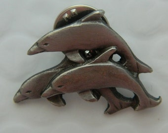 Dolphin Tie Tack Hat Pin Dolphin Pod Pewter Marked