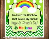 Printable St. Patrick's Day Gift Tags, Printable Hang Tags, Rainbow St Pattys Day Favor Tags, DIY, Digital File
