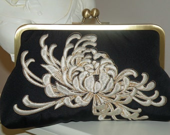 Embroidered Chrysanthemum Clutch/Purse/Bag ..Black silk kimono fabric w/gold and ivory..Bridal Bridesmaid Light Blue/Slate Blue