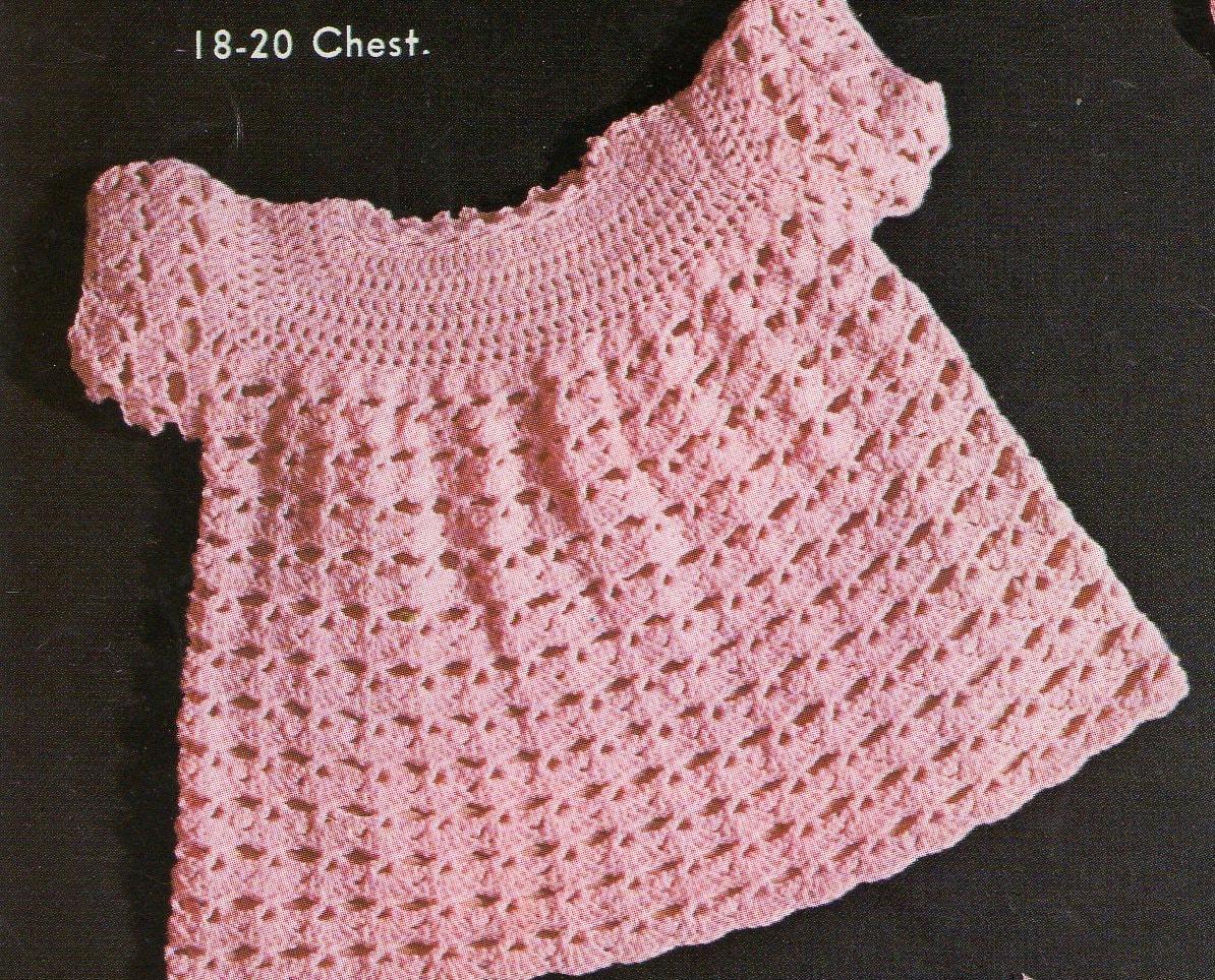 Vintage Crochet Baby Dress Pattern : Vintage Baby Crochet Pattern / Dress Matinee Jacket Bonnet