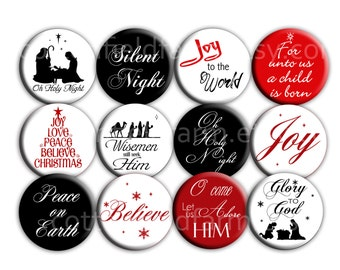 Christmas Special Religious Christian 2.25 Pinback buttons Set of 12  for Christmas, Party Favors, Gifts, Decorations