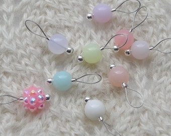 SALE Pastel Knitting Stitch Markers - snag free - pastel acrylic beads 8mm - set of 9 choose from three loop sizes