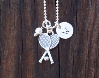 Tennis Necklace, Tennis Jewelry, Sterling Silver Tennis Racquet, Personalized Tennis Necklace, Tennis Gift