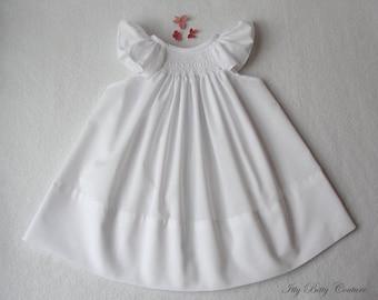 Smocked baby dress, smocked christening dress, white baby dress, white on white with angel sleeves