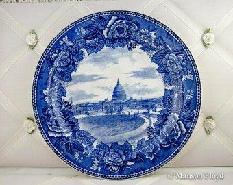 Vintage Wedgwood Plate Blue & White The Capital Washington DC Porcelain Plate ca 1902