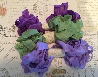 Crinkled Seam Binding 15 Yards, Purple Pansy, Spring Green, Light Purple