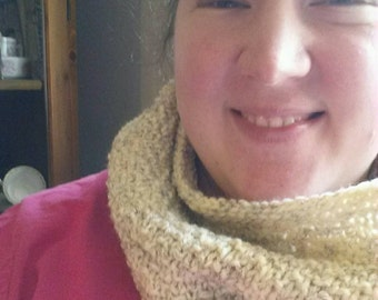 Knit Cowl -wheat colored -hand knit -ready to ship