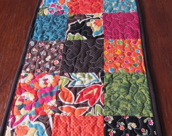 Floral Table Runner, Quilted Table Runner, Bold Color Table Runner,