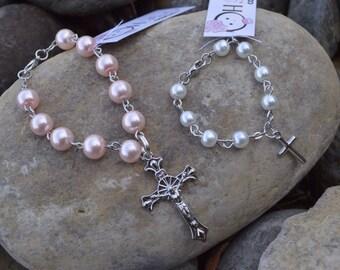 Baby Childs Newborn Rosary Bracelet for Baptisim New Baby Gift