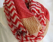 Red Beige Khaki and White Chevron Stripes and Checks Nautical Fashion Infinity Scarf -Accessory