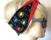 Stranger Things Christmas Lights Hair Tie Rockabilly Head Scarf by Dolly Cool, Holidays, Xmas, Festive