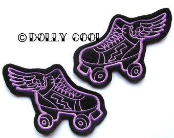 Roller Derby patch Pair of purple skates (more and custom colors available)