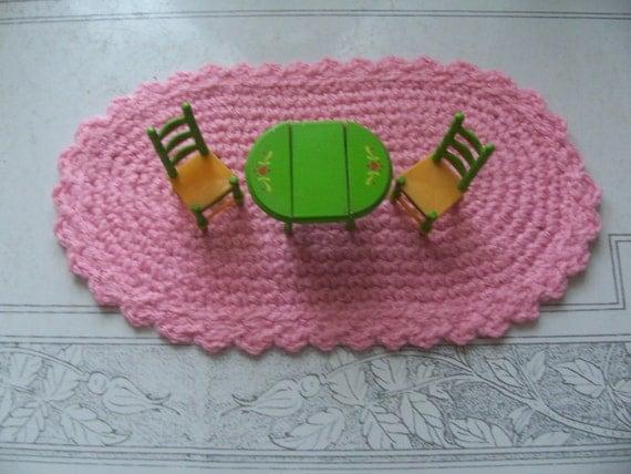 Star Wars Crochet Doll Pattern : Miniature Crochet Dollhouse Oval Rug Rretty Pink by ...