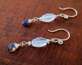 Moonstone and Iolite earrings, Moonstone earrings, blue and white earrings, iolite briolette earrings, iolite, moonstone