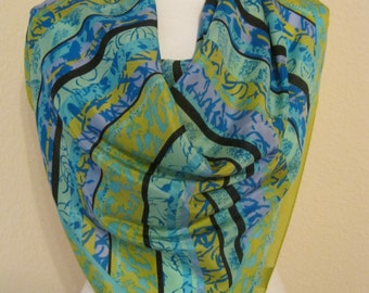 Vintage 70s rich turquoise gold blue abstract silk scarf, Honey silk scarf, made in Japan silk scarf, diagonal pattern soft abstract scarf