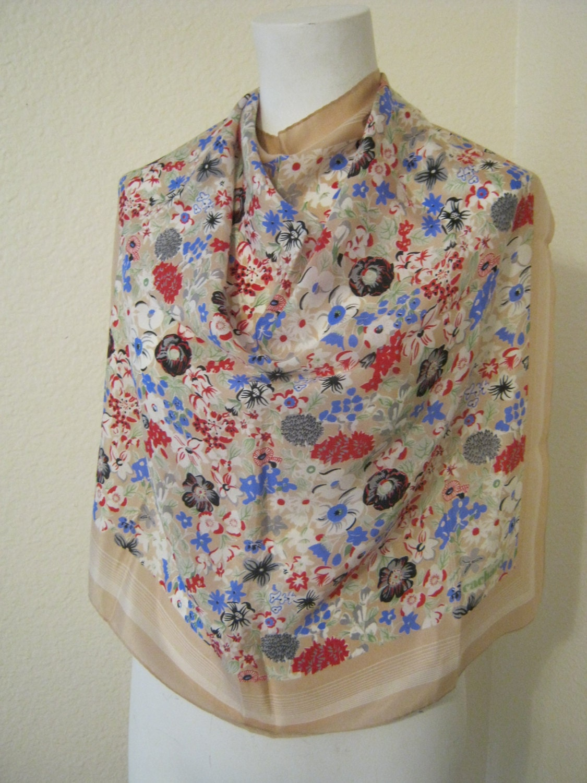 47c7335ca8 Vintage happy flowers Cacharel silk scarf, sand color multi flowers silk  scarf, designer silk scarf, French designer silk scarf, made Japan