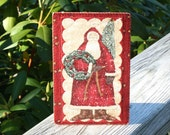 Vintage Style Fr Christmas Quilted Postcard