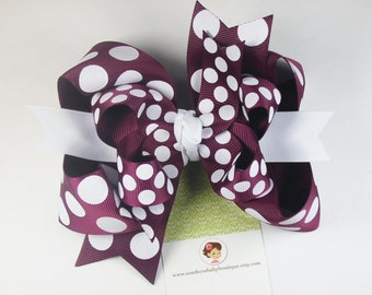 NEW---Mini Boutique Triple Layered Hair Bow Clip---Summer Splash---Maroon and White