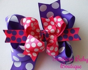 NEW----Mini Boutique Doubled Layered Hair Bow Clip----Summer Splash----Shocking Pink and Purple
