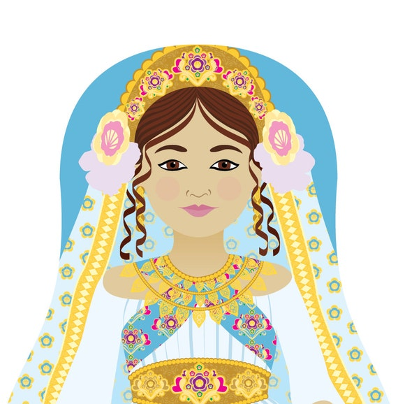 Queen Esther Wall Art Print featuring culturally traditional dress drawn in a Russian matryoshka nesting doll shape