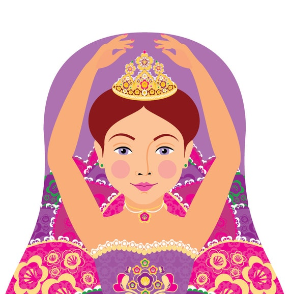 Sugar Plum Fairy Wall Art Print featuring Ballerina dancer drawing in a Russian matryoshka nesting doll shape