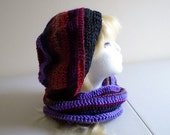 crochet multi colored beret cowl set