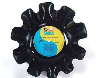 Hank Williams, Sr. Vinyl Record Bowl Vintage LP Album Rare 1966 (The Hank Williams Story) Turquoise Blue and Yellow Yin Yang Label