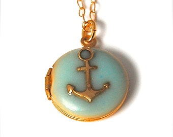 Anchor Necklace Locket Jewelry Anchors Nautical Wedding Layering Necklaces Tiny Locket Jewelry Small Gold Filled Turquoise Enamel Delicate