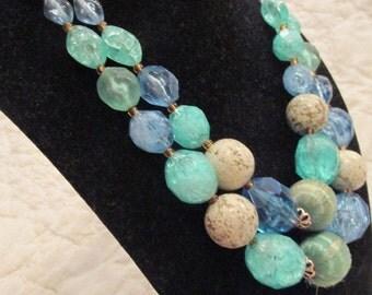 Vintage Necklace Mid Century Double Strand Multi color SALE